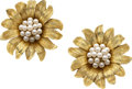 Estate Jewelry:Earrings, Cultured Pearl, Gold Earrings, Robert Bruce Bielka. ...