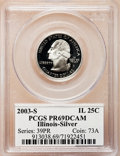 Proof Statehood Quarters: , 2003-S 25C Illinois Silver PR69 Deep Cameo PCGS. PCGS Population(5646/287). NGC Census: (0/0). Numismedia Wsl. Price for ...