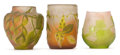 Glass, THREE GALLE GLASS CABINET VASES . Three red and white glass vases with green overlay in vine motifs, circa 1900 . Marks: G... (Total: 3 Items)