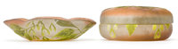GALLE GLASS BOWL AND BOX AND COVER Both in pink glass with green cameo overlay in a foliate motif, circa 1900