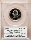 Proof Statehood Quarters, 2005-S 25C West Virginia Clad PR69 Deep Cameo PCGS. PCGS Population(3898/285). NGC Census: (0/0). Numismedia Wsl. Price f...