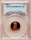 Proof Lincoln Cents, 1988-S 1C PR69 Red Deep Cameo PCGS. PCGS Population (2619/106). NGCCensus: (335/31). Numismedia Wsl. Price for problem fr...