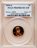 Proof Lincoln Cents, 1994-S 1C PR69 Red Deep Cameo PCGS. PCGS Population (3973/129). NGCCensus: (990/62). Numismedia Wsl. Price for problem fr...