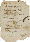 Boxing Collectibles:Memorabilia, 1859 Tom Sayers Handwritten Signed Letter Accepting Heenan Fight....