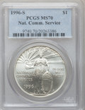 Modern Issues, 1996-S $1 National Community Service Silver Dollar MS70 PCGS. PCGSPopulation (111). NGC Census: (224). Mintage: 23,500. Nu...