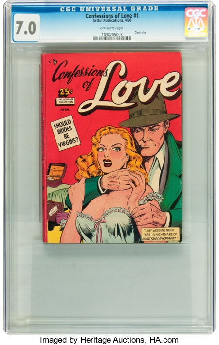 Confessions of Love #1 (Artful, 1950) CGC FN/VF 7.0 Off-white pages....