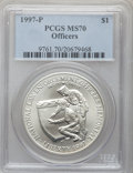 Modern Issues: , 1997-P $1 Law Enforcement Silver Dollar MS70 PCGS. PCGS Population(138). NGC Census: (224). Numismedia Wsl. Price for pro...