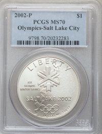 2002-P $1 Olympics Salt Lake City Silver Dollar MS70 PCGS. PCGS Population (304). NGC Census: (675). Numismedia Wsl. Pri...