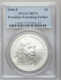 Modern Issues, 2006-P $1 Ben Franklin, Founding Father MS70 PCGS. PCGS Population(668). NGC Census: (6565). Numismedia Wsl. Price for pr...