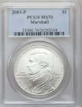 Modern Issues, 2005-P $1 Marshall MS70 PCGS. PCGS Population (349). NGC Census: (1222). Numismedia Wsl. Price for problem free NGC/PCGS c...