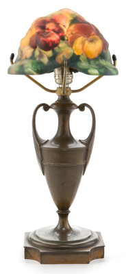 PAIRPOINT LAMP BASE WITH PUFFY GLASS SHADE Urn styled lamp base with puffy glass shade with pansy decoration, cir