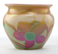 Art Glass:Other , QUEZAL GLASS VASE . Gold and green glass vase with floral motif,circa 1910. Engraved: QUEZAL . 4-1/4 inches high (10.8 cm)...