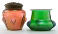 Art Glass:Other , AUSTRIAN GLASS VASE AND HUMIDOR . Green glass vase with threeapplied shell-forms and iridescent rose humidor with metal cov...(Total: 2 Items)
