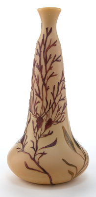 LEGRAS GLASS VASE Cafe au lait glass with etched and enameled seaweed decoration, circa 1910 Marks: Legras<