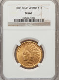 Indian Eagles: , 1908-D $10 No Motto MS61 NGC. NGC Census: (158/230). PCGSPopulation (48/311). Mintage: 210,000. Numismedia Wsl. Price for...