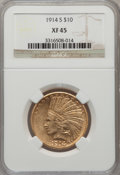 Indian Eagles: , 1914-S $10 XF45 NGC. NGC Census: (13/842). PCGS Population(21/720). Mintage: 208,000. Numismedia Wsl. Price for problem fr...