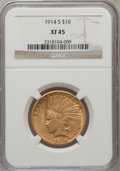 Indian Eagles: , 1914-S $10 XF45 NGC. NGC Census: (13/842). PCGS Population(21/705). Mintage: 208,000. Numismedia Wsl. Price for problem fr...