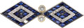 Estate Jewelry:Brooches - Pins, Diamond, Synthetic Sapphire, Gold, Platinum Brooch. ...