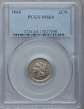 Three Cent Nickels, 1868 3CN MS64 PCGS. PCGS Population (148/88). NGC Census: (162/65).Mintage: 3,252,000. Numismedia Wsl. Price for problem f...
