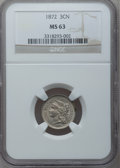 Three Cent Nickels: , 1872 3CN MS63 NGC. NGC Census: (27/68). PCGS Population (52/76).Mintage: 861,000. Numismedia Wsl. Price for problem free N...