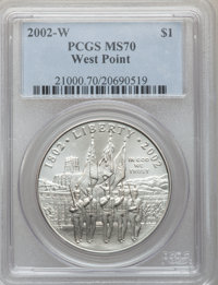 2002-W $1 West Point Silver Dollar MS70 PCGS. PCGS Population (886). NGC Census: (2321). Numismedia Wsl. Price for probl...