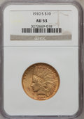 Indian Eagles: , 1910-S $10 AU53 NGC. NGC Census: (69/1079). PCGS Population(129/1083). Mintage: 811,000. Numismedia Wsl. Price for problem...