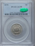 Shield Nickels: , 1870 5C AU58 PCGS. CAC. PCGS Population (12/173). NGC Census:(9/158). Mintage: 4,806,000. Numismedia Wsl. Price for proble...