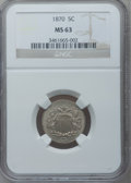 Shield Nickels: , 1870 5C MS63 NGC. NGC Census: (34/100). PCGS Population (42/114).Mintage: 4,806,000. Numismedia Wsl. Price for problem fre...