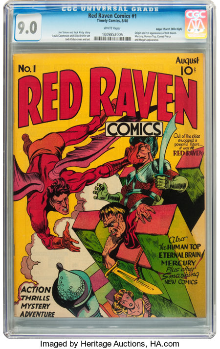 Red Raven Comics #1 Mile High pedigree (Timely, 1940) CGC VF/NM 9.0 White pages....