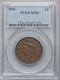 Large Cents: , 1836 1C XF45 PCGS. PCGS Population (9/102). NGC Census: (11/135).Mintage: 2,111,000. Numismedia Wsl. Price for problem fre...