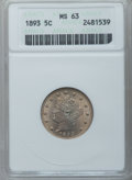 Liberty Nickels: , 1893 5C MS63 ANACS. NGC Census: (79/253). PCGS Population (131/282). Mintage: 13,370,195. Numismedia Wsl. Price for problem...