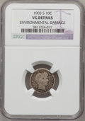 Barber Dimes: , 1903-S 10C --Environmental Damage--NGC Details. VG. NGC Census:(2/74). PCGS Population (8/176). Mintage: 613,300. Numismed...