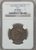 Large Cents: , 1819 1C Small Date VF30 NGC. N-9. PCGS Population (3/56).Numismedia Wsl. Price for problem free NGC/P...