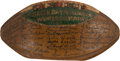 Football Collectibles:Balls, 1936 Green Bay Packers Team Signed Football - Represents First Championship Game Victory Season!...