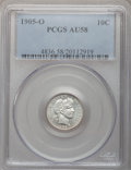 Barber Dimes: , 1905-O 10C AU58 PCGS. PCGS Population (9/110). NGC Census: (9/123).Mintage: 3,400,000. Numismedia Wsl. Price for problem f...