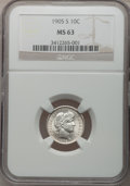 Barber Dimes: , 1905-S 10C MS63 NGC. NGC Census: (32/41). PCGS Population (30/79).Mintage: 6,855,199. Numismedia Wsl. Price for problem fr...