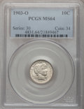 Barber Dimes: , 1903-O 10C MS64 PCGS. PCGS Population (26/16). NGC Census: (27/8).Mintage: 8,180,000. Numismedia Wsl. Price for problem fr...