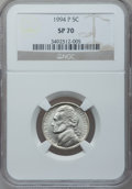 Jefferson Nickels, 1994-P 5C SP70 NGC. NGC Census: (60). PCGS Population (0).(#4132)...