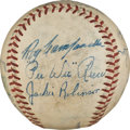 Autographs:Baseballs, 1951 Brooklyn Dodgers Partial Team Signed Baseball Used in PreacherRowe's Twentieth Victory Game....