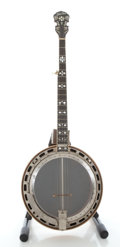 Musical Instruments:Banjos, Mandolins, & Ukes, Circa 1970's Gold Star Hearts and Flowers 5 String Banjo....