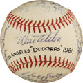Autographs:Baseballs, 1961 Los Angeles Dodgers Team Signed Baseball....