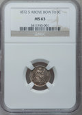 Seated Half Dimes, 1872-S H10C Mintmark Above Bow MS63 NGC. NGC Census: (0/0). PCGSPopulation (26/81). Numismedia Wsl. Price for problem fre...