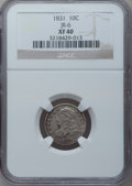 Bust Dimes: , 1831 10C XF40 NGC. JR-6. NGC Census: (11/257). PCGS Population (13/249). Mintage: 771,350. Numismedia Wsl. Price for proble...