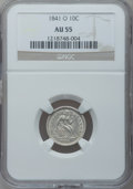 Seated Dimes: , 1841-O 10C AU55 NGC. NGC Census: (7/37). PCGS Population (7/24).Mintage: 2,007,500. Numismedia Wsl. Price for problem free...