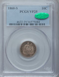 Seated Dimes: , 1860-S 10C VF25 PCGS. CAC. PCGS Population (4/46). NGC Census:(1/31). Mintage: 140,000. Numismedia Wsl. Price for problem ...