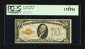 Small Size:Gold Certificates, Fr. 2400 $10 1928 Gold Certificate. PCGS Fine 15PPQ.. ...