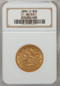 Liberty Eagles: , 1894-O $10 AU55 NGC. NGC Census: (117/539). PCGS Population(76/234). Mintage: 107,500. Numismedia Wsl. Price for problem f...