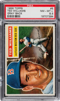 "Baseball Cards:Singles (1950-1959), 1956 Topps Ted Williams #5 PSA NM-MT+ 8.5. Pop One ""Gray Back"",with One Higher...."