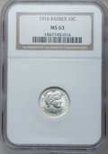 Barber Dimes, 1916 10C Barber MS63 NGC. NGC Census: (238/461). PCGS Population(324/460). Mintage: 18,490,000. Numismedia Wsl. Price for ...
