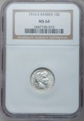Barber Dimes, 1916-S 10C Barber MS64 NGC. NGC Census: (64/59). PCGS Population (80/34). Mintage: 5,820,000. Numismedia Wsl. Price for pro...